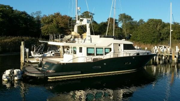 "Custom Sea Star Pilothouse ""Meema"" at the dock"
