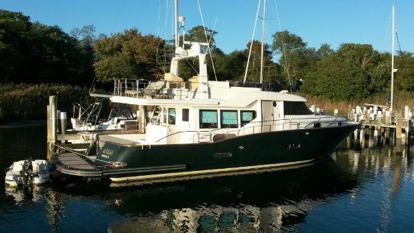 "Custom Sea Star Pilothouse ""Meema"" at the dock"