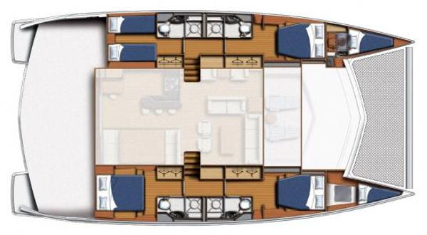 Leopard 58 Lower Deck 4 Cabin Layout Plan