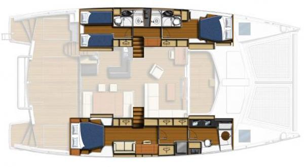 Leopard 58 Lower Deck 3 Cabin Layout Plan