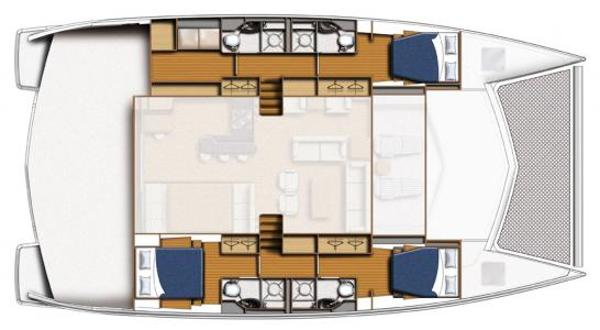 Leopard 58 Lower Deck 3 Cabin Option Layout Plan