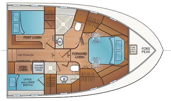 3 Stateroom 2 Head Layout - w/VIP Port