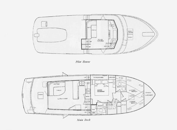 Pilothouse & Main Deck Layouts