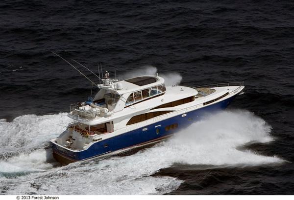 Johnson 83' Flybridge w/Fishing Cockpit Running
