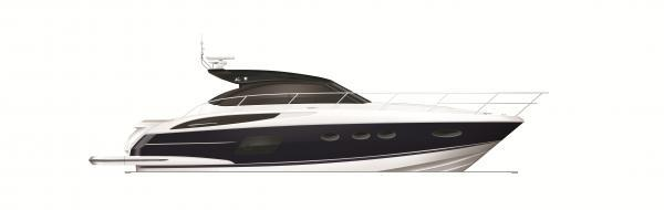 Princess V48 Open Blue Hull Profile
