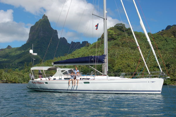 At anchor in Cooks Bay, Moorea.