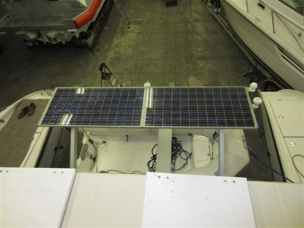Solar panels on dinghy davits