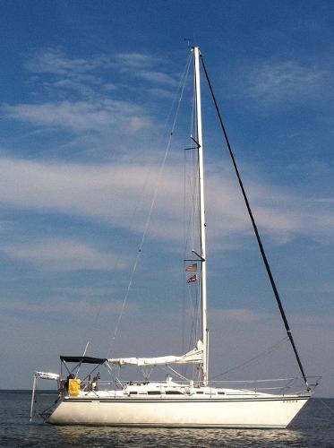 Hunter 34 At anchor