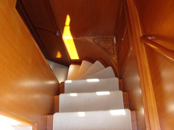 Stairway to Master and Guest Staterooms