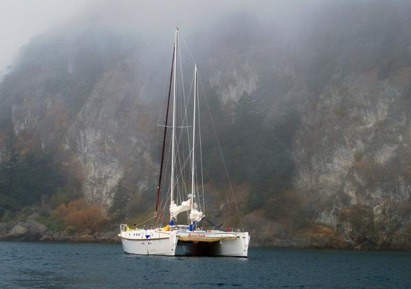 Custom Cat - first rigged 2006 At Anchor Watmough Bay