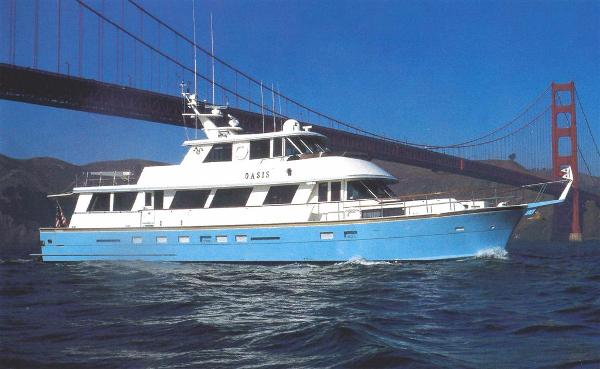 Hatteras 80 Motor Yacht Cruise under the Gate