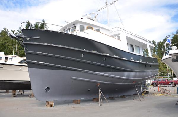 Halmatic Qweek Quay Expedition Trawler Vessel hauled and painted July 2016