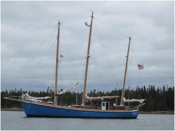 Expedition three masted marconi rigged Schooner At Anchor