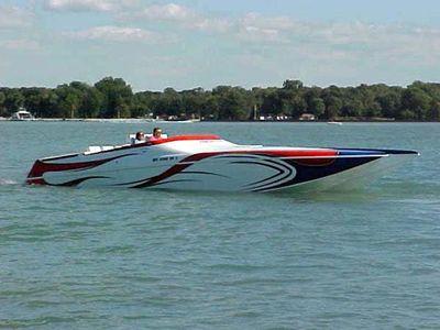Ocean Express 38 Super Cat Poker Run Starboard Side in Water