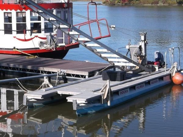 CUSTOM BUILT Pontoon Spud Crane Work Boat