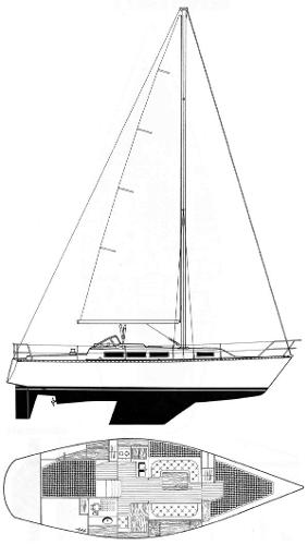 Beneteau Idylle 11.50 Line Drawing and layout