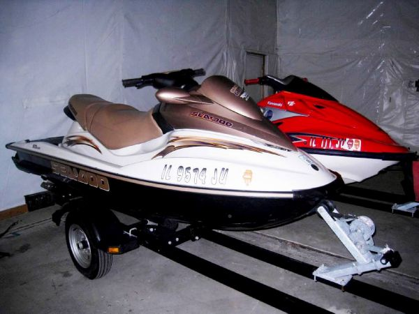 both jetskis on trailer