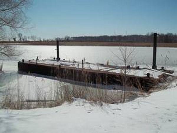 48' x 18' x 4' Steel Spud Barge