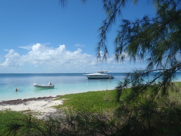 Tiara 3800 Open Enjoying Umbrella Cay