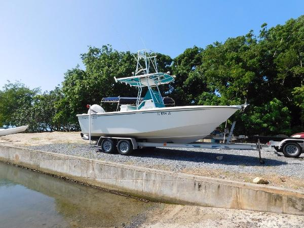 Dougherty Marine Marlin 210 Note tower on bimini top.