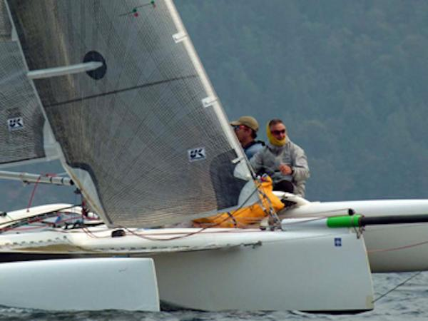 Trimaran Multi 23 Sister ship sailing upwind