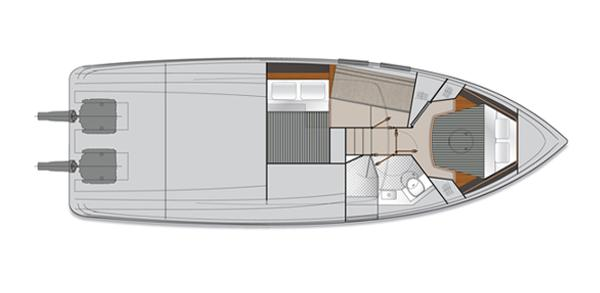 Maritimo C43 Sports Yacht Accommodation 1 Layout plan