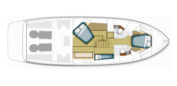 Maritimo C50 Sports Yacht Accommodation Layout Plan