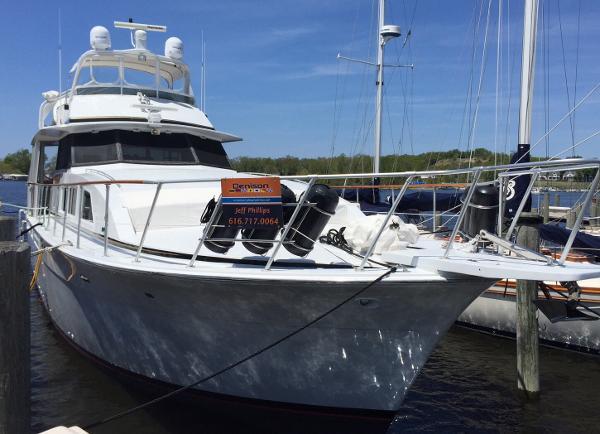 Bertram 58 Flybridge Motor Yacht Overview of starboard