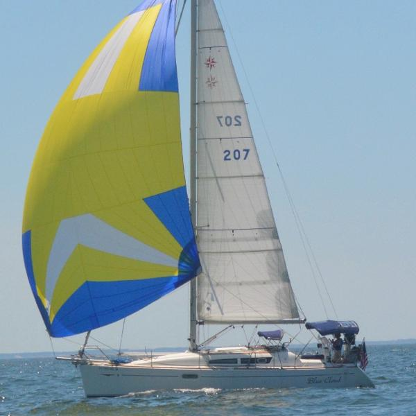 "Jeanneau Sun Odyssey 36i ""Blue Cloud"" Under Spinnaker"