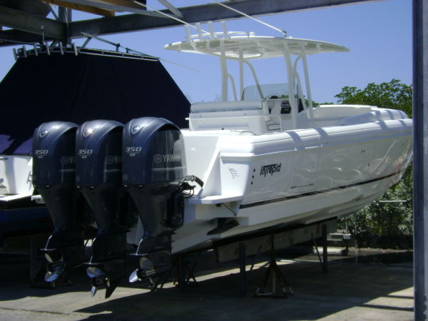 Intrepid 370 Cuddy LOADED!!! Starboard Quarter Profile