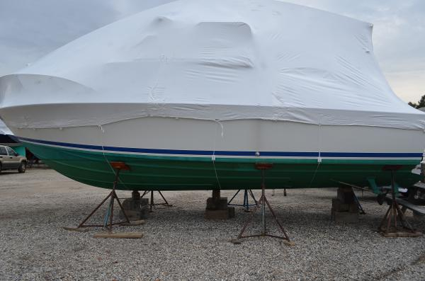 Bertram 28 Flybridge CRUISER Under Wrap For Winter