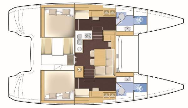 Lagoon 39 2 Cabin Premium Layout Plan