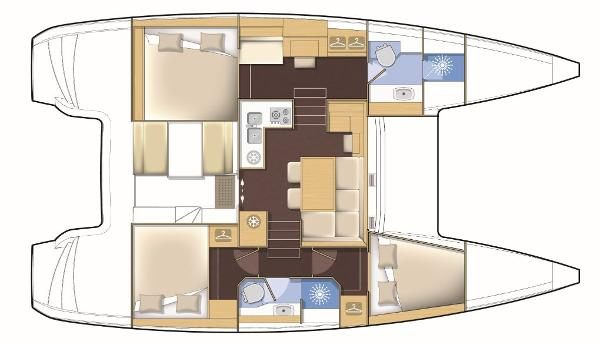 Lagoon 39 3 Cabin Premium Layout Plan