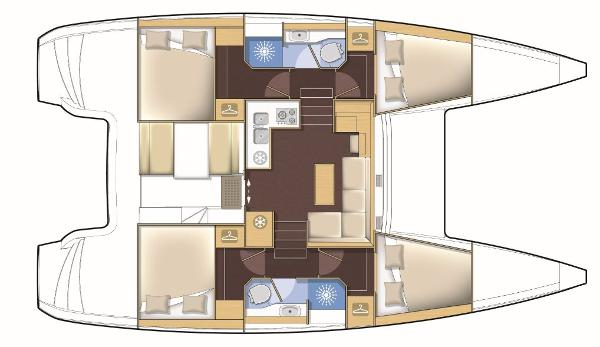 Lagoon 39 4 Cabin Premium Layout Plan