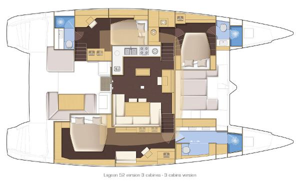 Lagoon 52 3 Cabin Layout Plan