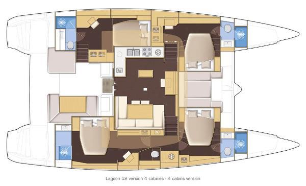 Lagoon 52 4 Cabin Layout Plan