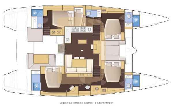 Lagoon 52 5 Cabin Layout Plan