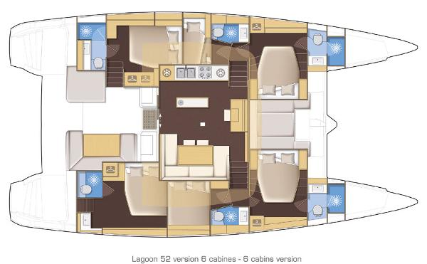 Lagoon 52 6 Cabin Layout Plan