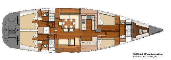 CNB BORDEAUX 60 4 Cabins Layout Plan