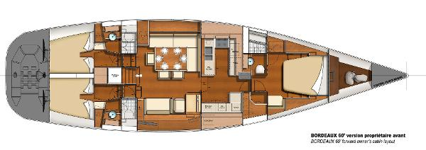 CNB BORDEAUX 60 Front Owner's Cabin Layout Plan