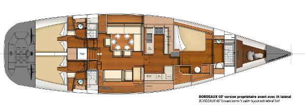 CNB BORDEAUX 60 Front Owner's Cabin Lateral Bed Layout Plan