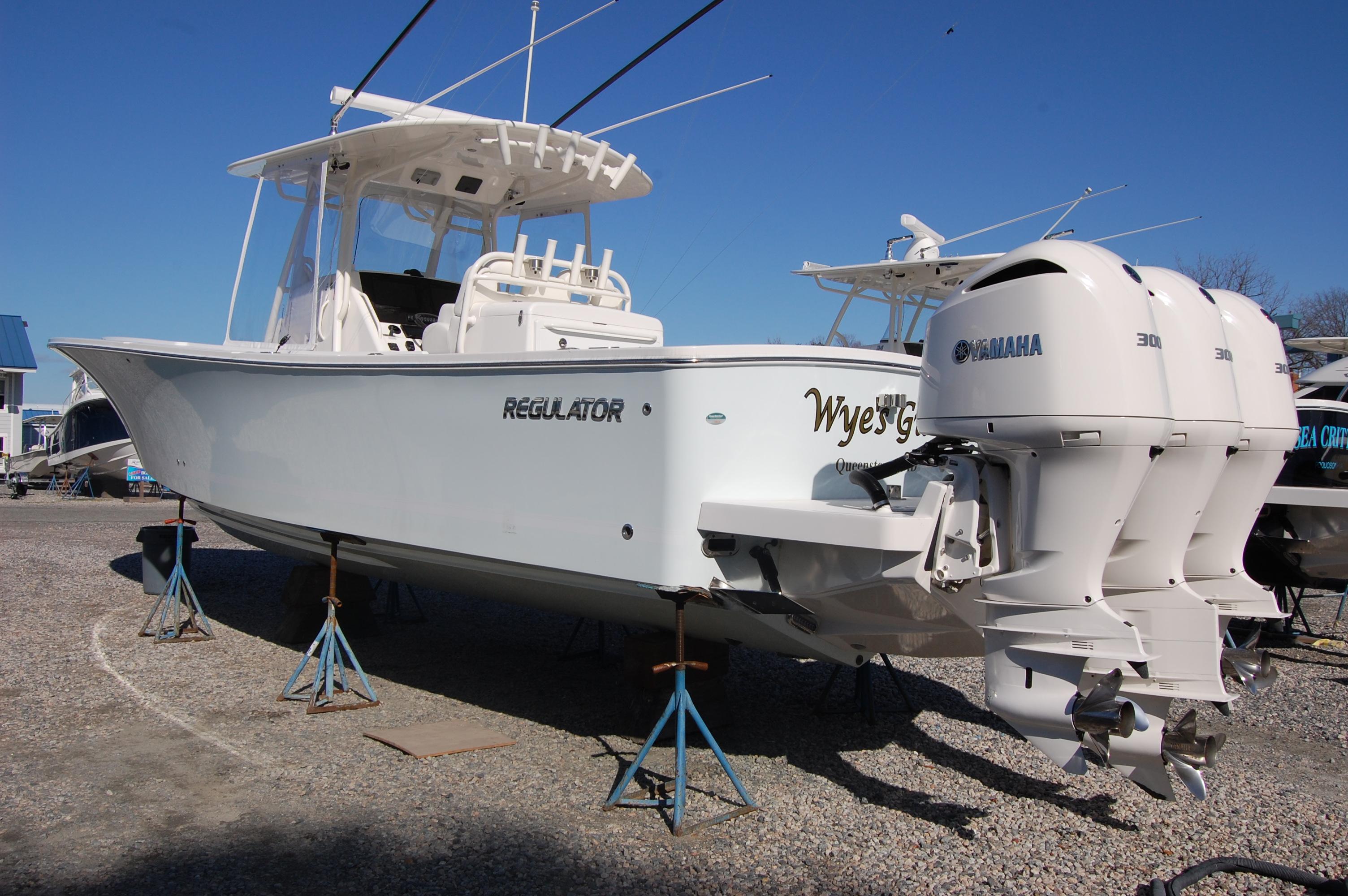 Regulator 34 Center Console 2019 Regulator 34cc, port stern, Abaco Sky hull color, no bottom paint