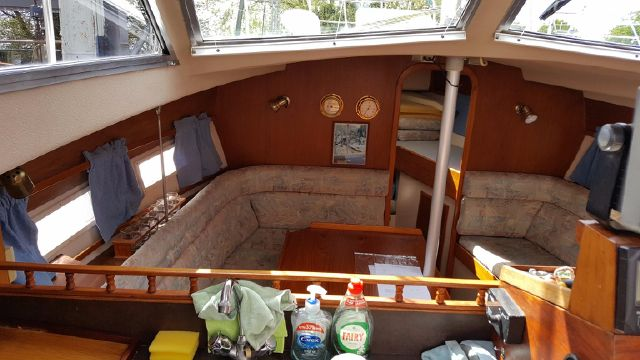 Saloon from raised galley looking forward.