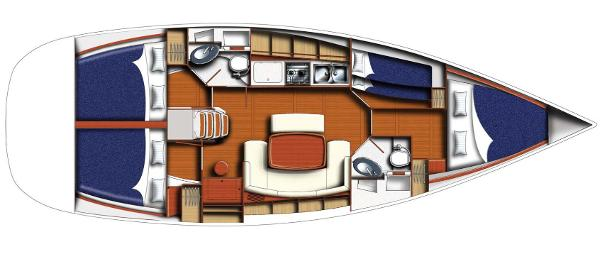 Beneteau Cyclades 43.4 layout 4 cabins - 2 heads