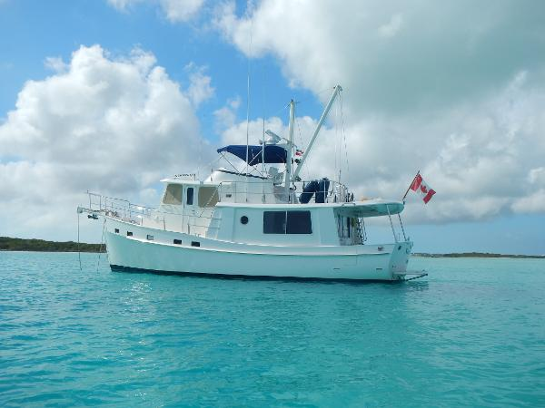 Kadey Krogen 44 AE Sea Wolf At Anchor In The Bahamas