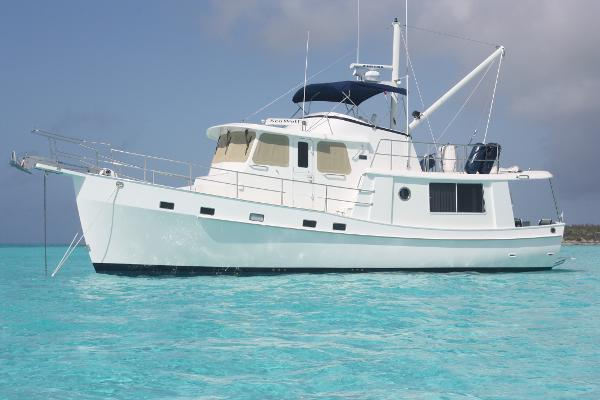 Krogen 44 AE Widebody At Anchor In The Bahamas