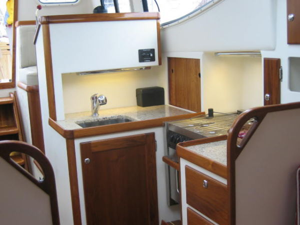 Galley with granite counter tops