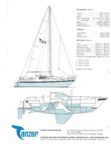 Tanzer 10.5 Pilothouse line drawing
