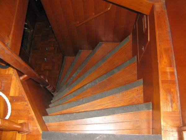 1 of 2 curved stairs to staterooms