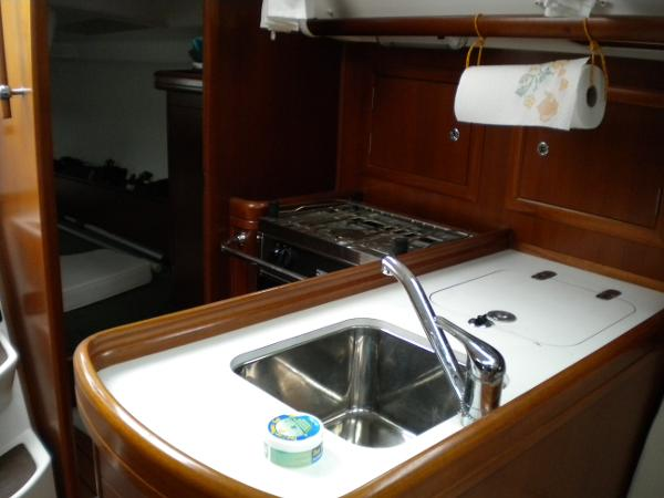 Galley, at base of companionway/port